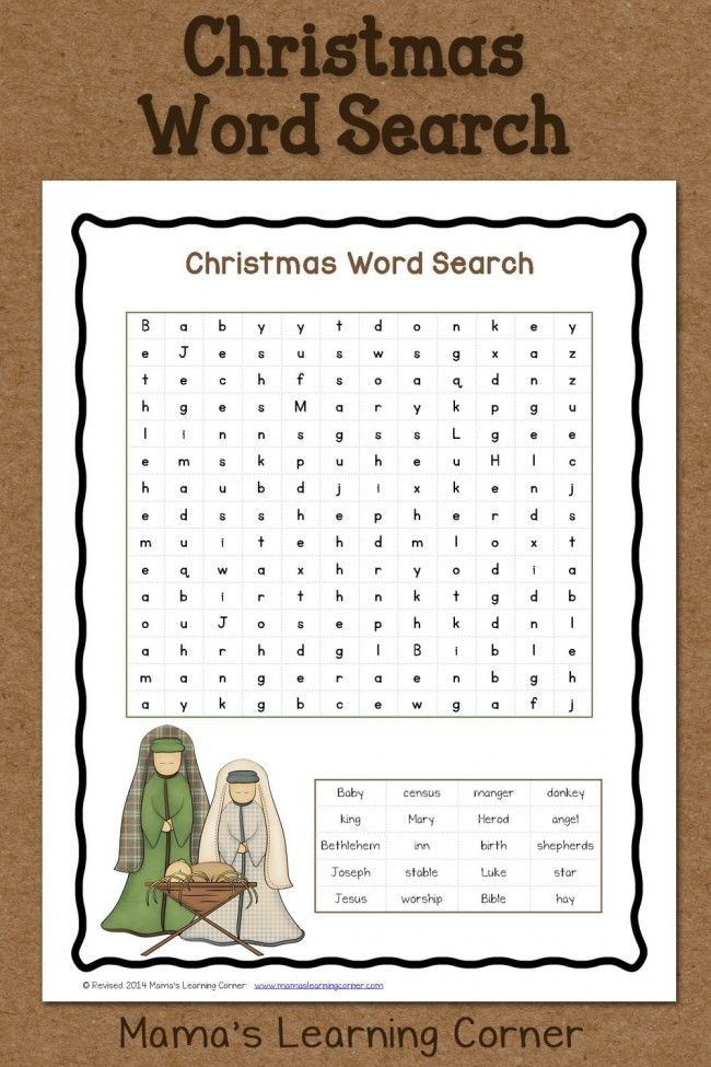 Christmas Word Search: Free Printable | church crafts | Pinterest ...