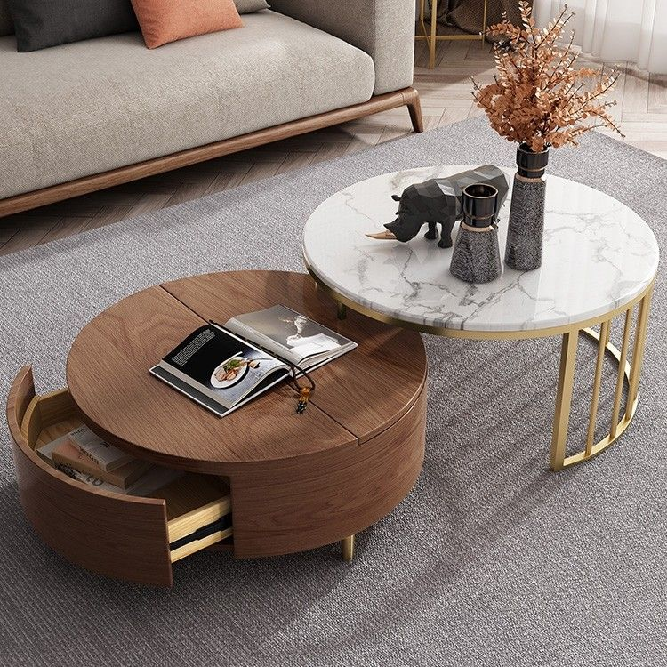 Modern White Walnut White Round Coffee Table With Storage Wood
