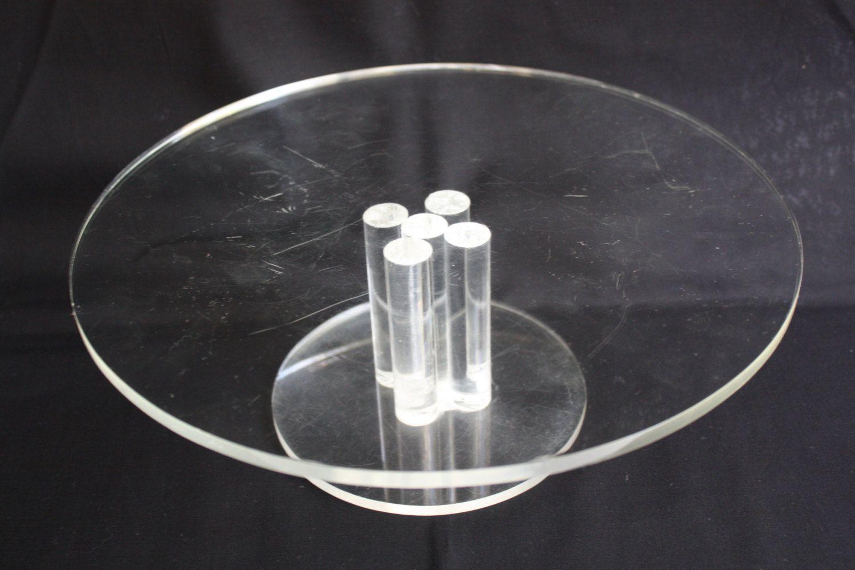 Vintage Mid Century Modern Clear LUCITE Plexiglass Acrylic Pedestal Cake Plate by DebiLynneVintage on Etsy