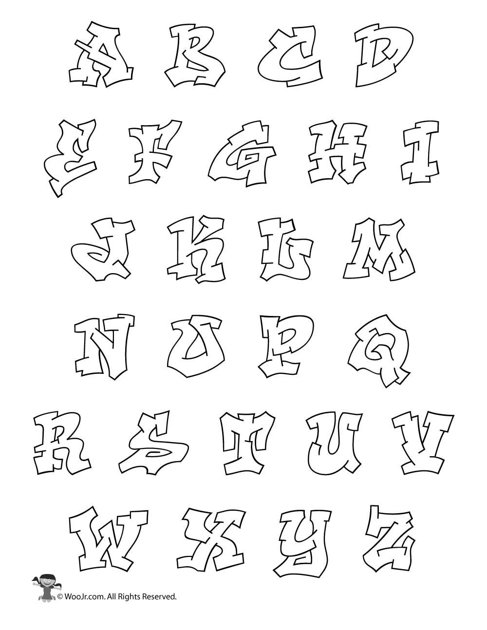 printable graffiti bubble letters alphabet | hip hop coloring book