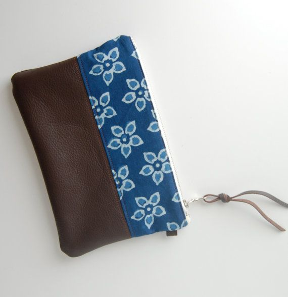 Leather Stash Pouch Slim Style Zipper Pouch by BPoppiesHandmade