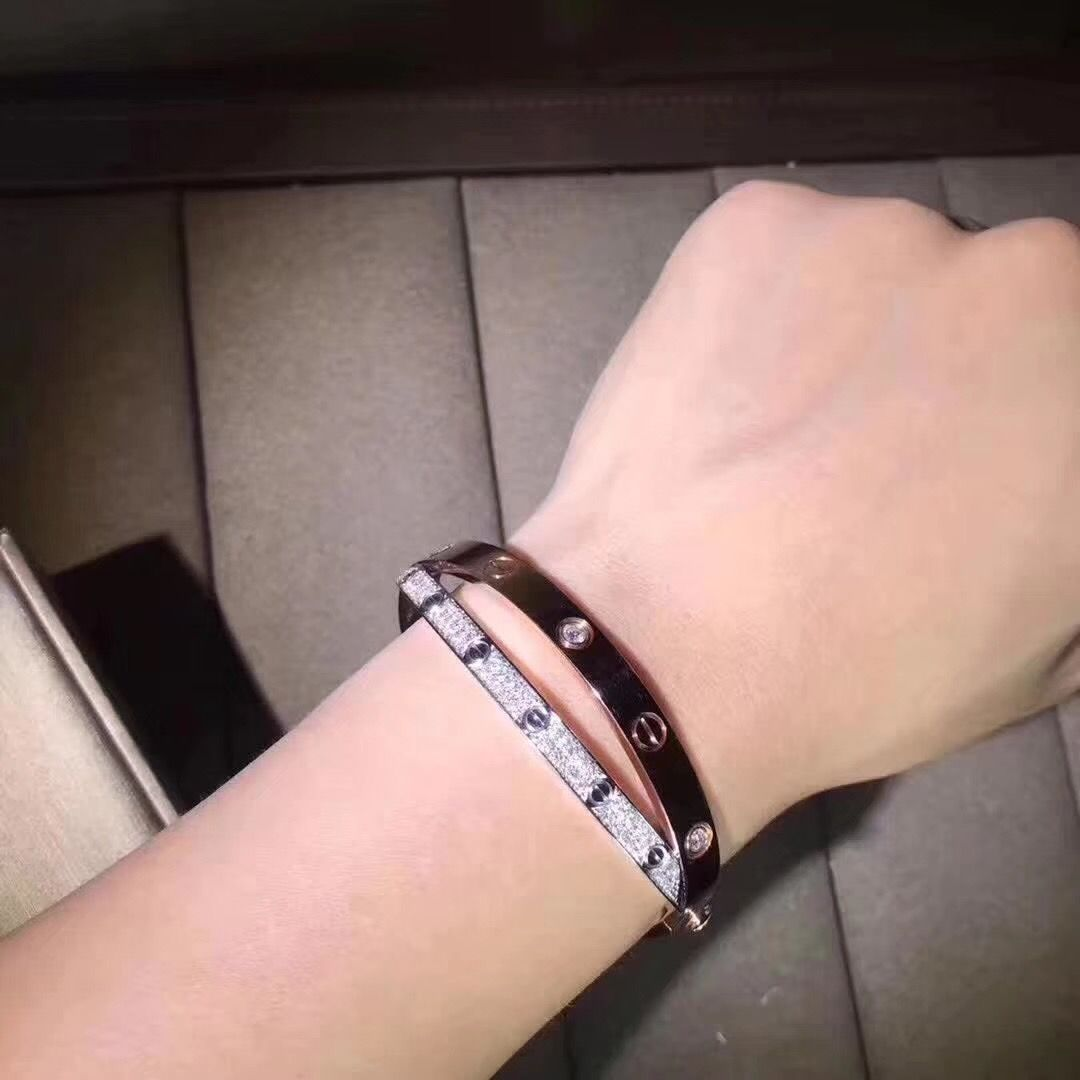 9052d024e Cartier Cross Love Bracelet in 18k Pink Gold and White Gold pave Diamonds  N6039217