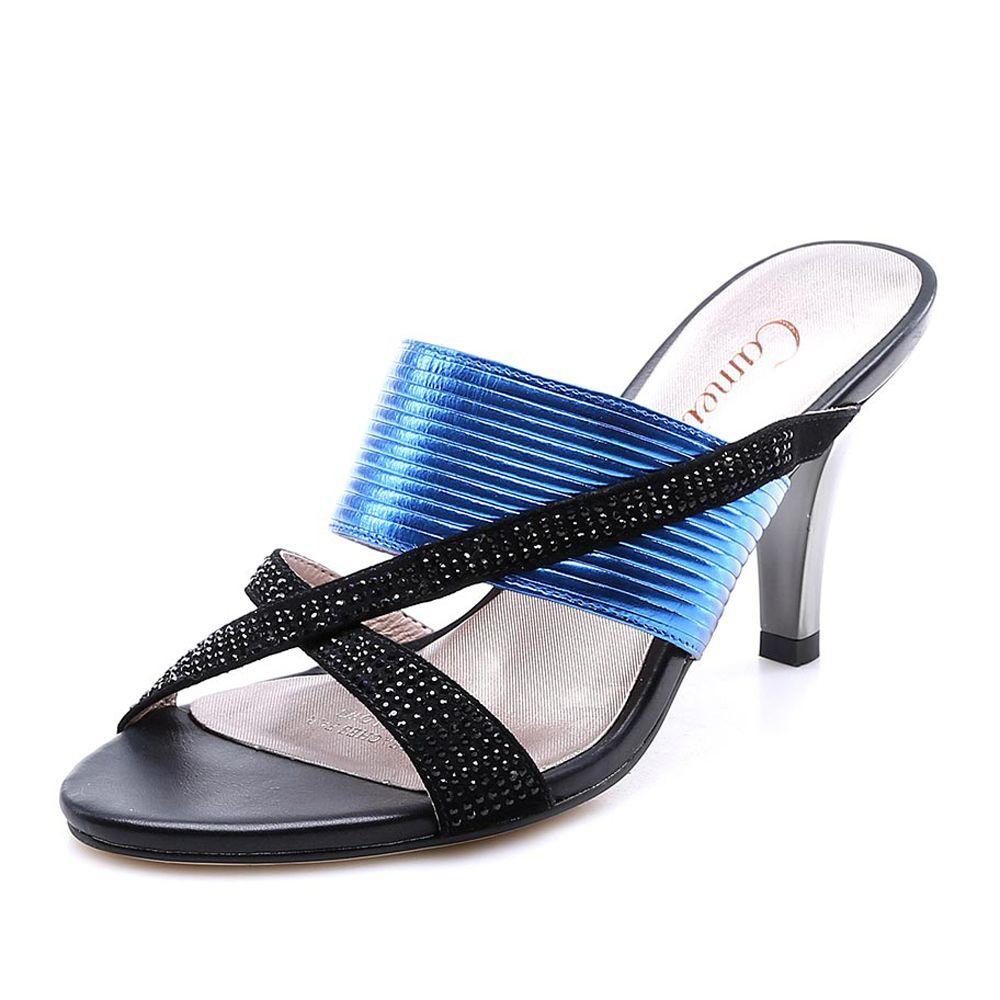 【卡美多Cameido KW16GF-TP22L6601 深蓝色】卡美多(cameido)深蓝色牛皮细跟女子凉拖鞋KW16GF-TP22L6601-99