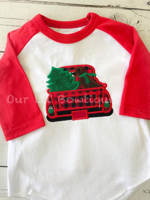 Boy Christmas Shirt Red Black Raglan Green Classic Car Wagon Christmas Tree Personalized Raglan Name Shirt Boy Toddler Baby Youth Shirt