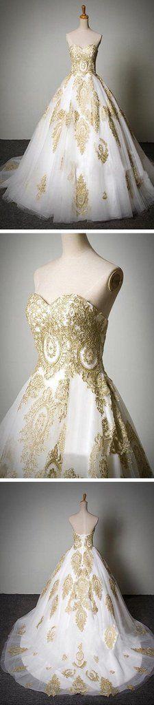 Günstige beliebte klassische Schatz-Goldspitze-Weiß-Tüll-Hochzeitsfest-Kleider, WDY0119 Günstige beliebte klassische Schatz-Goldspitze-Weiß-Tüll-Hochzeitsfest-Kleider, WDY0119