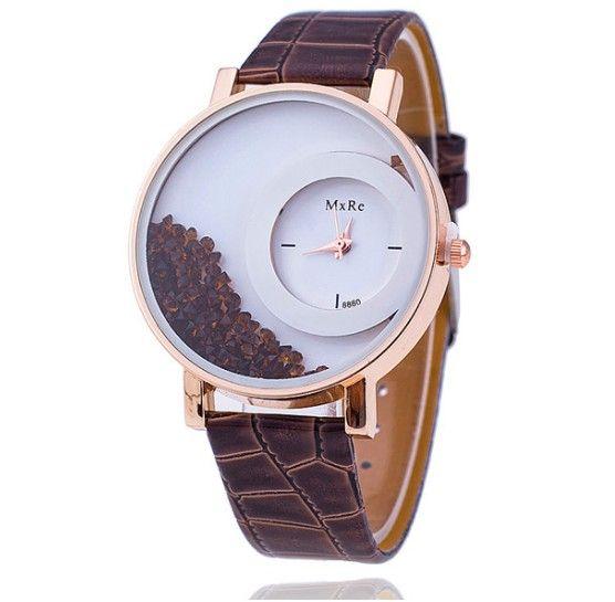 Dámské hodinky s přelévajícími se krystalky hnědé – dámské hodinky Na tento  produkt se vztahuje nejen zajímavá sleva 9f33cdce929
