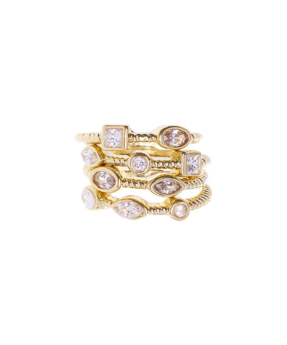 Look at this Cubic Zirconia & Gold Picasso Ring Set on #zulily today!