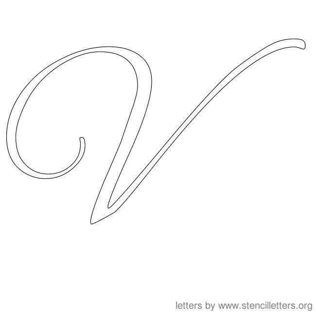 Cursive Letter Stencils V   Letter Templates   Pinterest ...
