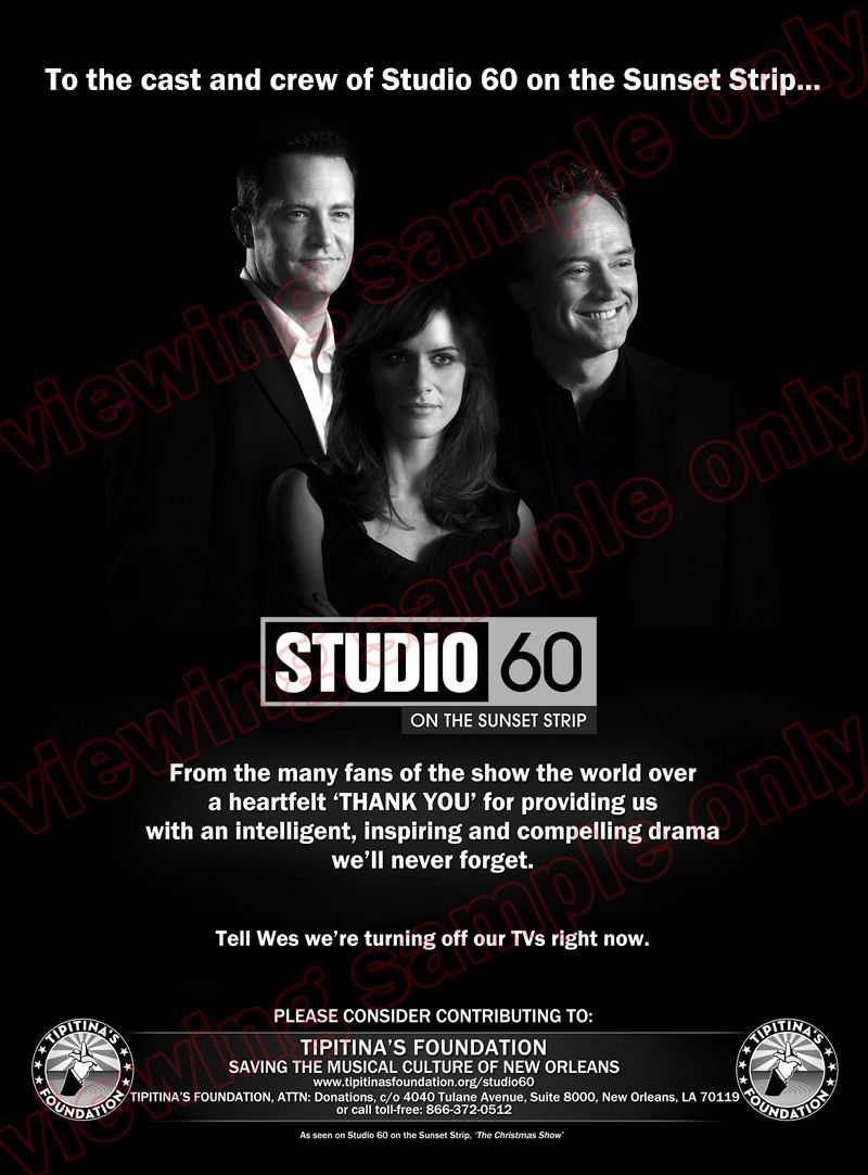 Studio 60 on the Sunset Strip: what a treasure of a show, and of course,  not renewed after one season