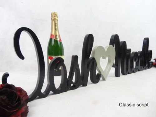 FREESTANDING**RAW WOODEN WEDDING NAMES**WOODEN LETTERS 4 bridal Table 15 or 20cm