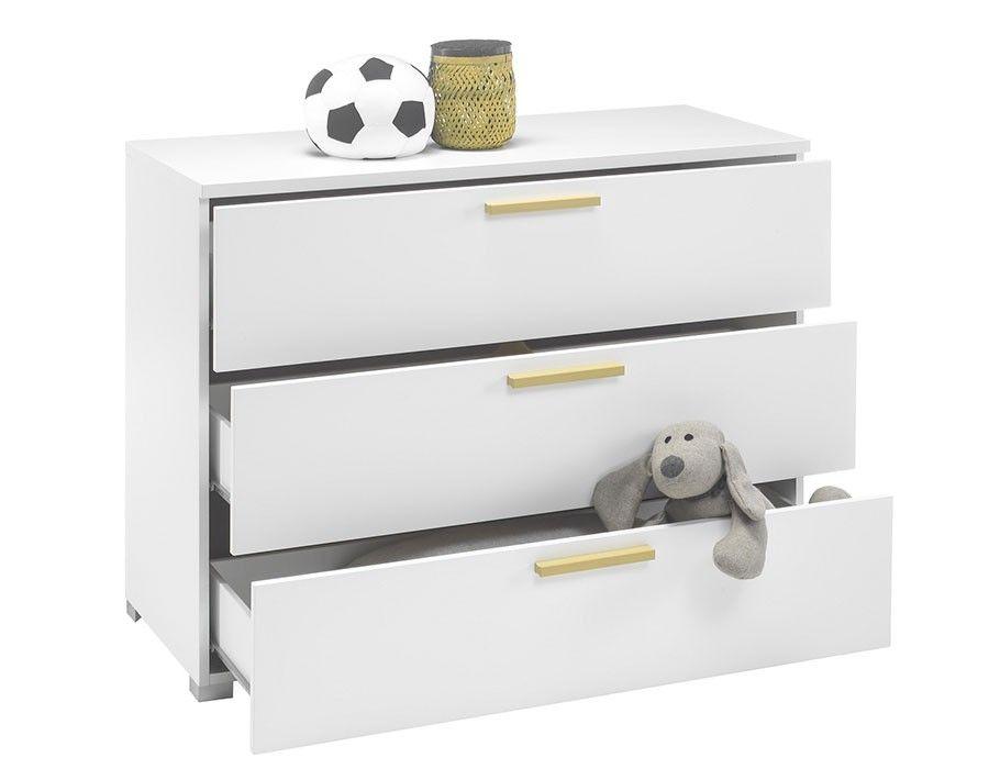 Commode design blanc et jaune enfant NATHEO | Commode chambre ...