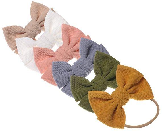 6 Nylon Baby Headbands, Baby Girl Headbands, Newborn baby headbands, Infant Headbands, Baby Bow Head #babygirlheadbands