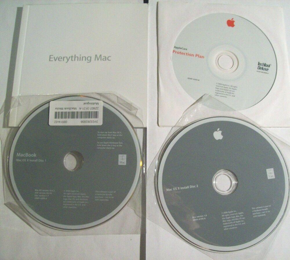 Apple Macbook MAC OS X Install Discs 1 & 2 Version 10 5 2 +