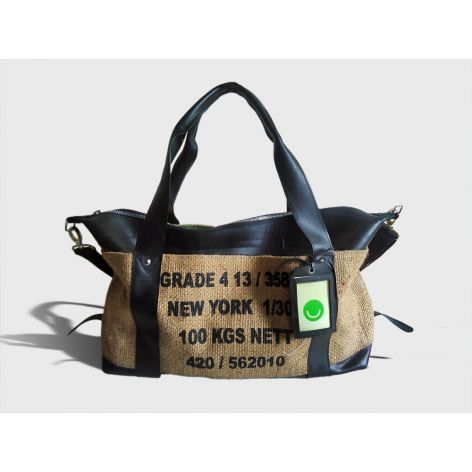 burlap and leather travel bag