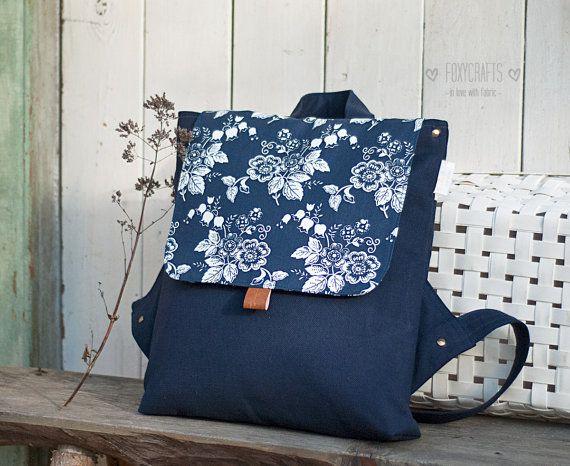 Рюкзак Blue Garden от FoxyCraftsBags на Etsy
