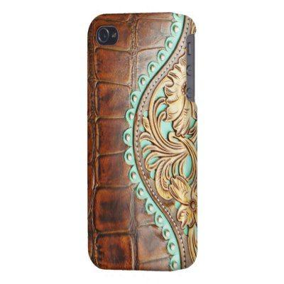 Vind het iPhone hoesje van leer waar jij naar op zoek bent  - #leather iphone case zazzle   Tooled Chap Design on Alligator Leather Look iPhone 4 Case - http://ledereniphonehoesjes.nl/slimme-iphone-6-hoesjes/