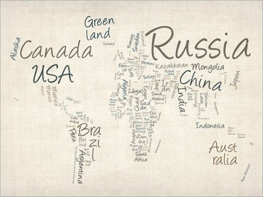 For those who respond better to text than imagesa map of the michael tompsett typography world map canvas art by trademark fine art gumiabroncs Choice Image