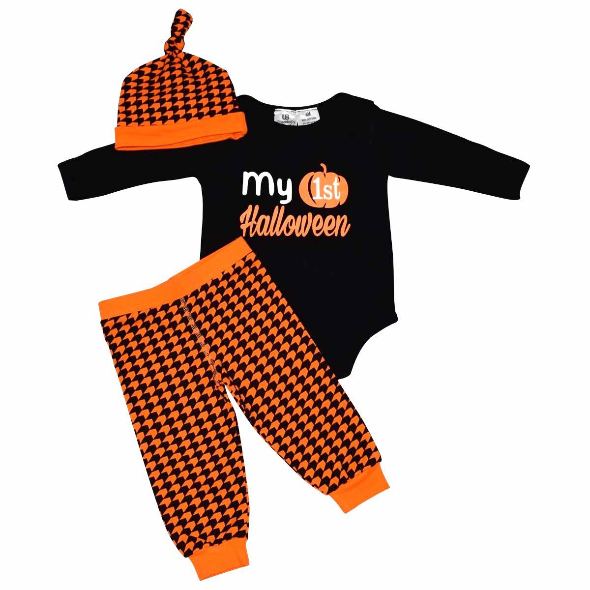 Unique Baby Girls Cutest Pumpkin in The Patch Halloween Layette Set