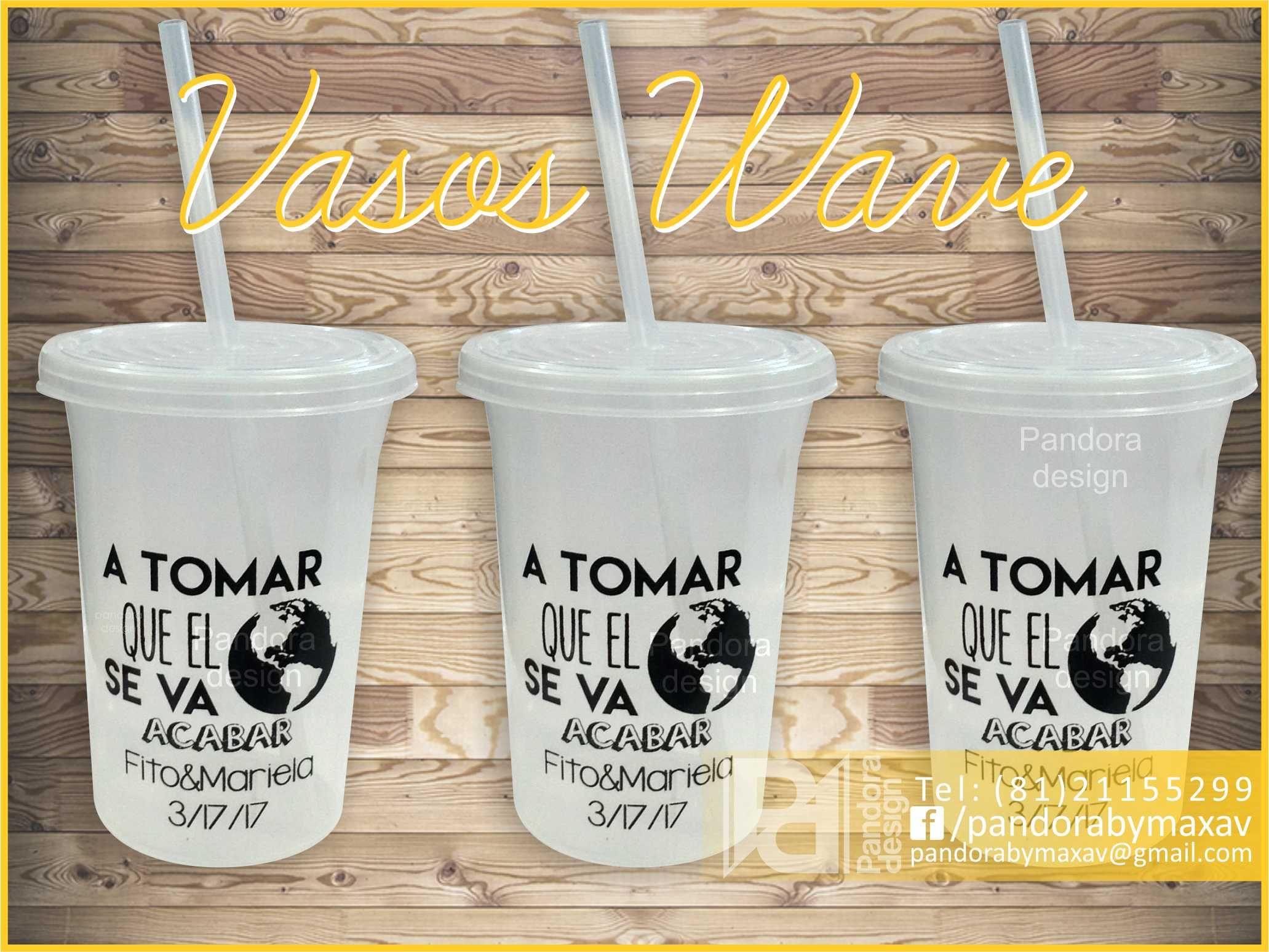 Vasos de plastico con tapa y popote personalizados para  bodas ... 76af5a84b16