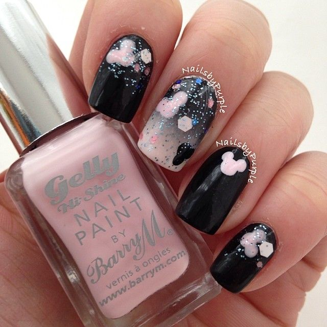 Pastel Pink and Black Gradient Nails With Mickey Mouse Nail Art ...