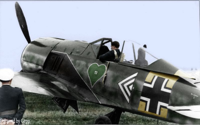 """✠ Walter """"Nowi"""" Nowotny assigned to airfield defence duties.This entailed keeping a Rotte at constant readiness. Two aircraft were positioned in line with the end of the runway at all times. If an emergency flare was fired from the HQ building they could then be scrambled immediately."""