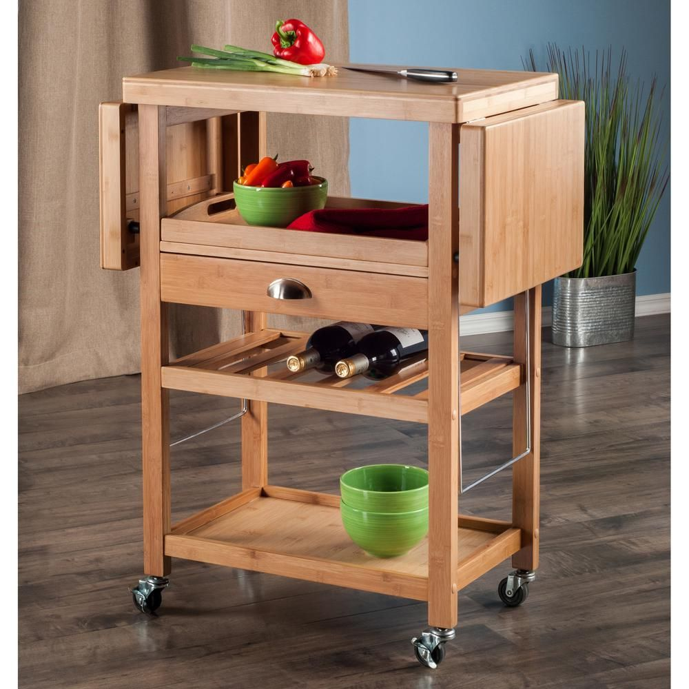 Winsome Wood Barton Bamboo Kitchen Cart With Drop Leaf | Carrito cocina