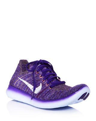 Women S Free Rn Flyknit Lace Up Sneakers In Purple White Nike Flyknit Nike Women Nike Shoes Outlet