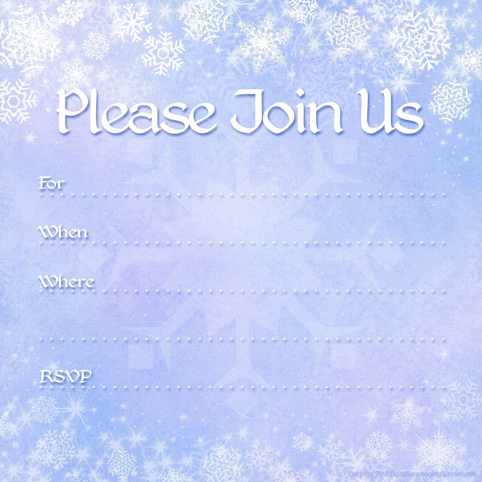 Free Printable Invites | Free Printable Party Invitations: Free Winter  Holiday Invitations  Free Printable Invitation Templates For Word