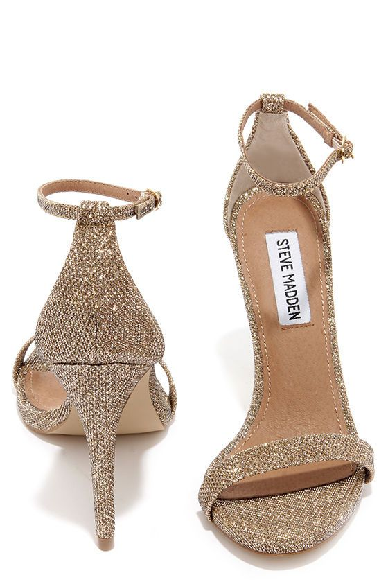 Steve Madden Stecy Gold Fabric Ankle Strap Heels