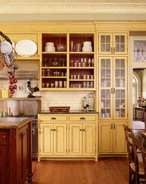 Yellow Cabinets And Cream Walls Great Kitchen With Original Details