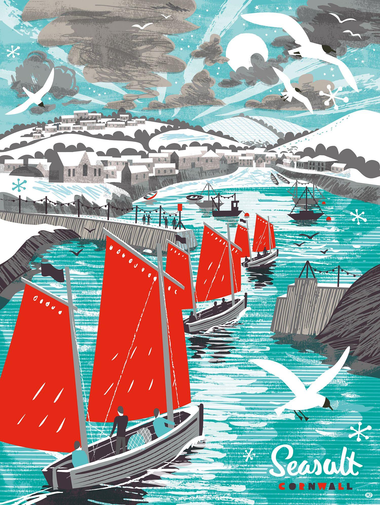 Three ships sailing into Port Isaac. Christmas illustration by Matt ...