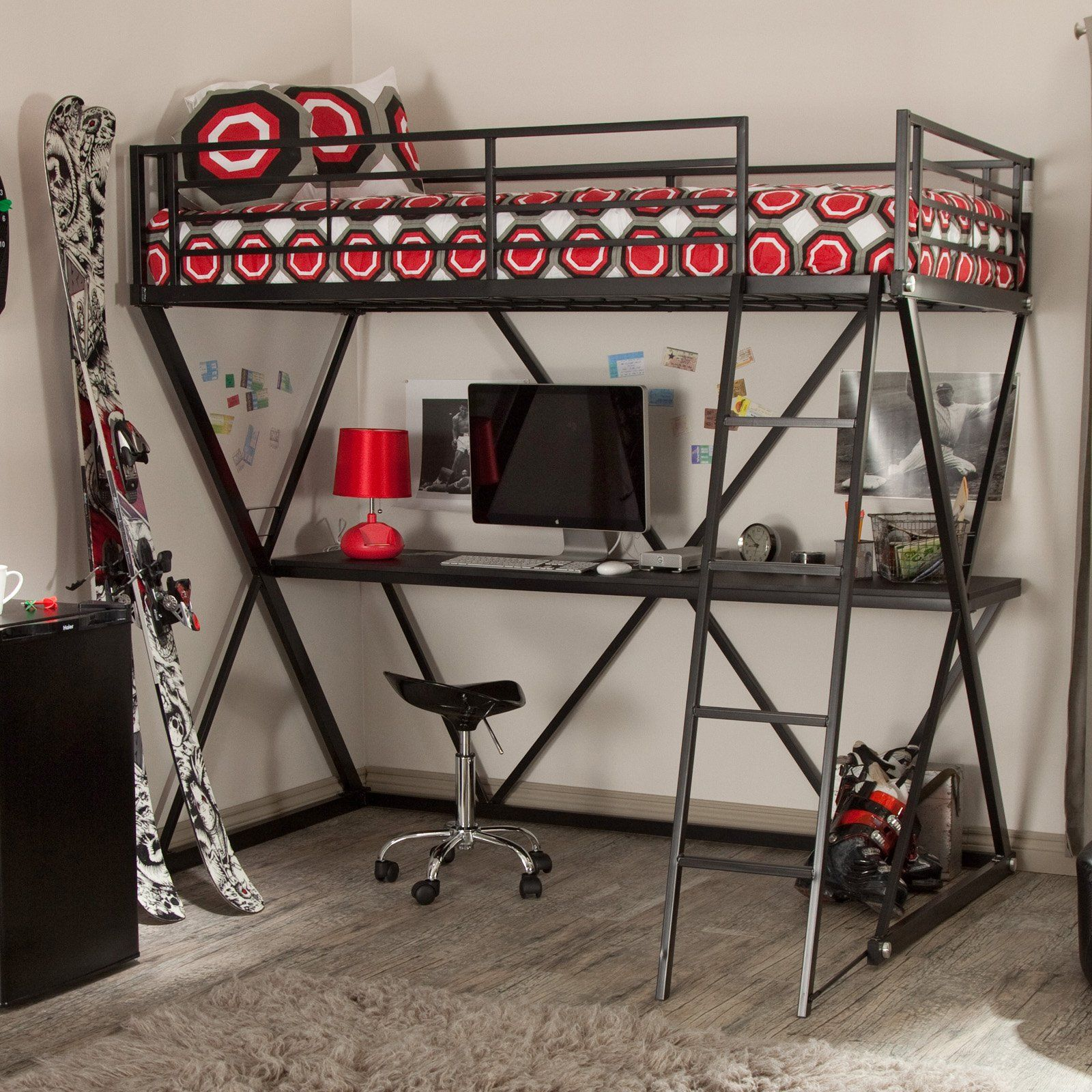 Loft bunk bed with desk  Have to have it Duro Z Bunk Bed Loft with Desk  Black   of