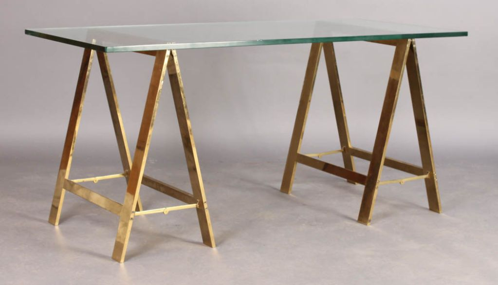 Stylish Bronze Saw Horse Based Desk With Gl Top Image 2