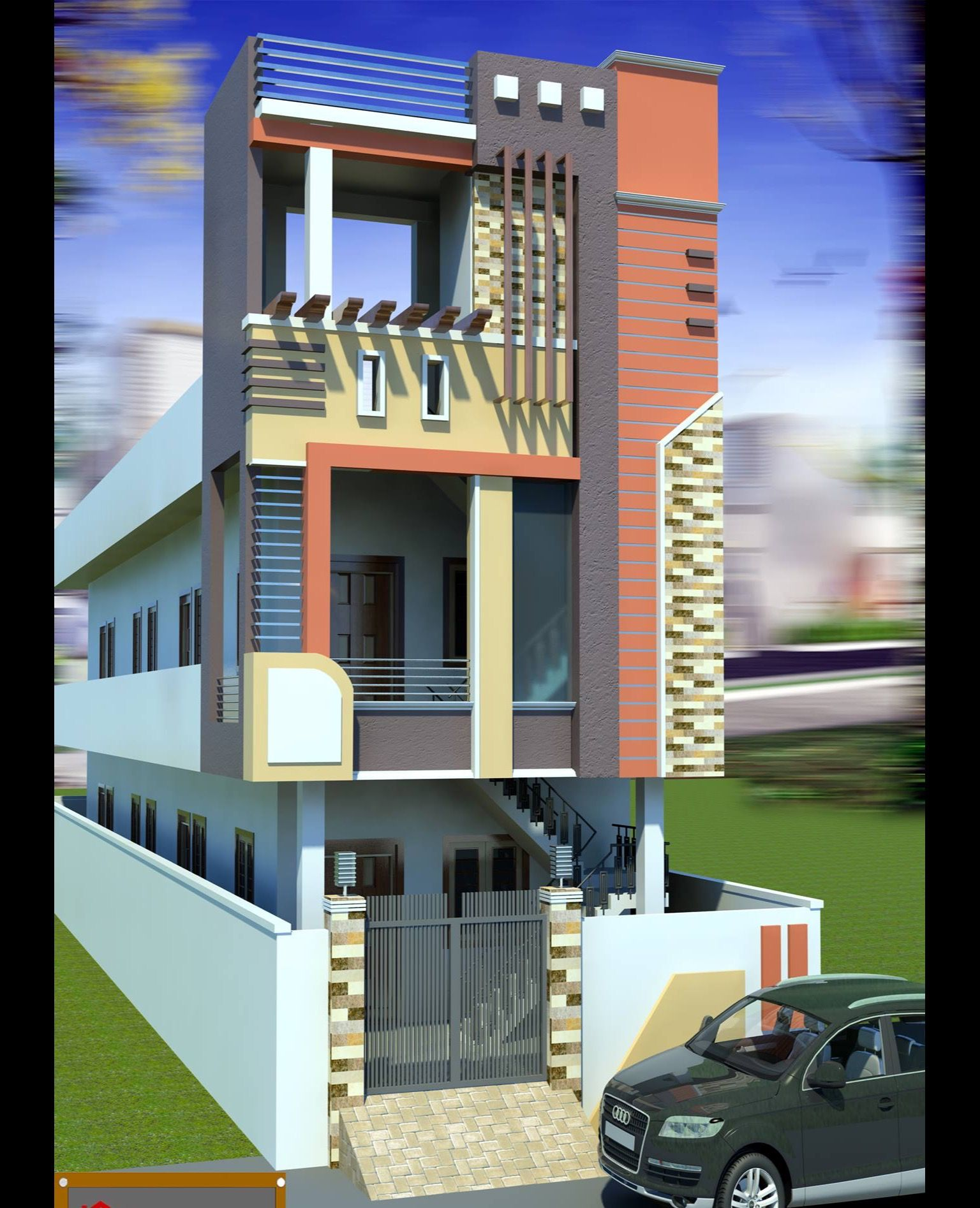 D Front Elevation Ground Floor : Indian house ground floor front design valo i
