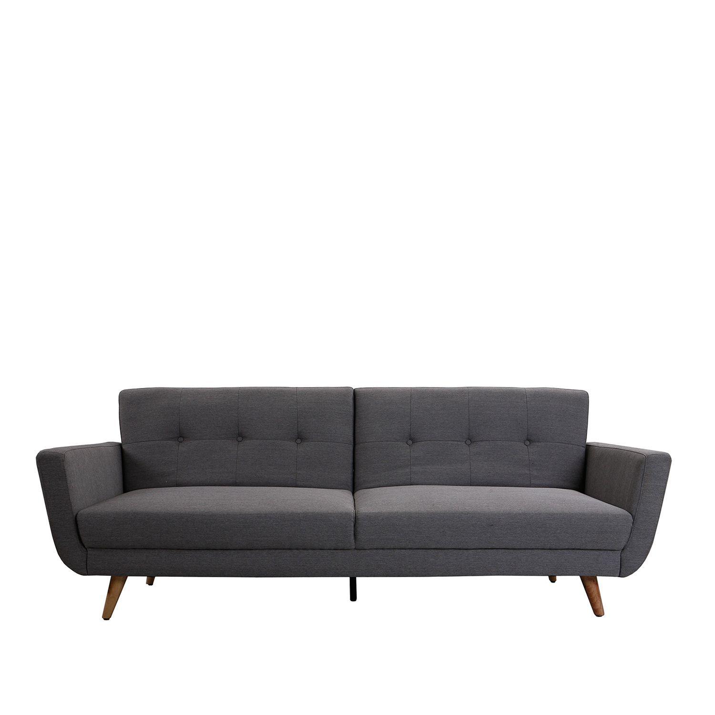 canap 3 places convertible en lit recouvert de tissu de. Black Bedroom Furniture Sets. Home Design Ideas