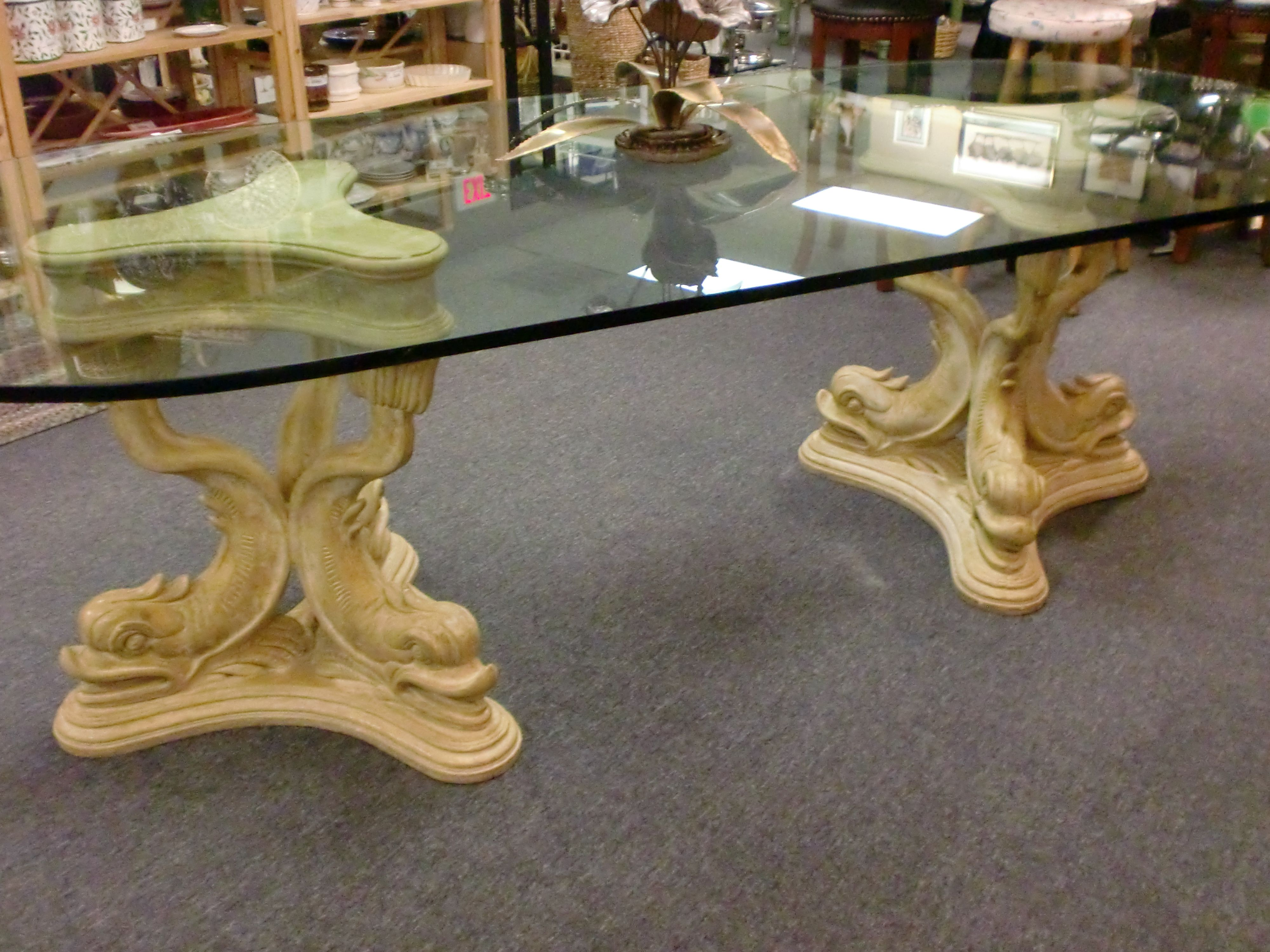 Pair of Mid Century posite or Plaster Cast Dolphin Pedestal