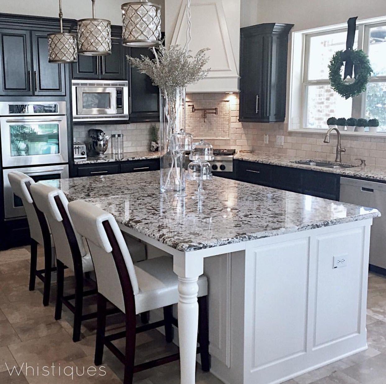 Dark Cabinets Light Island Backsplash With Images Home Remodeling Sweet Home Kitchen Design