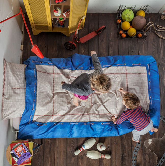 Van Snurk mag je wel op bed springen.. Trampoline dekbedovertrek te koop bij Goodnightkidzz