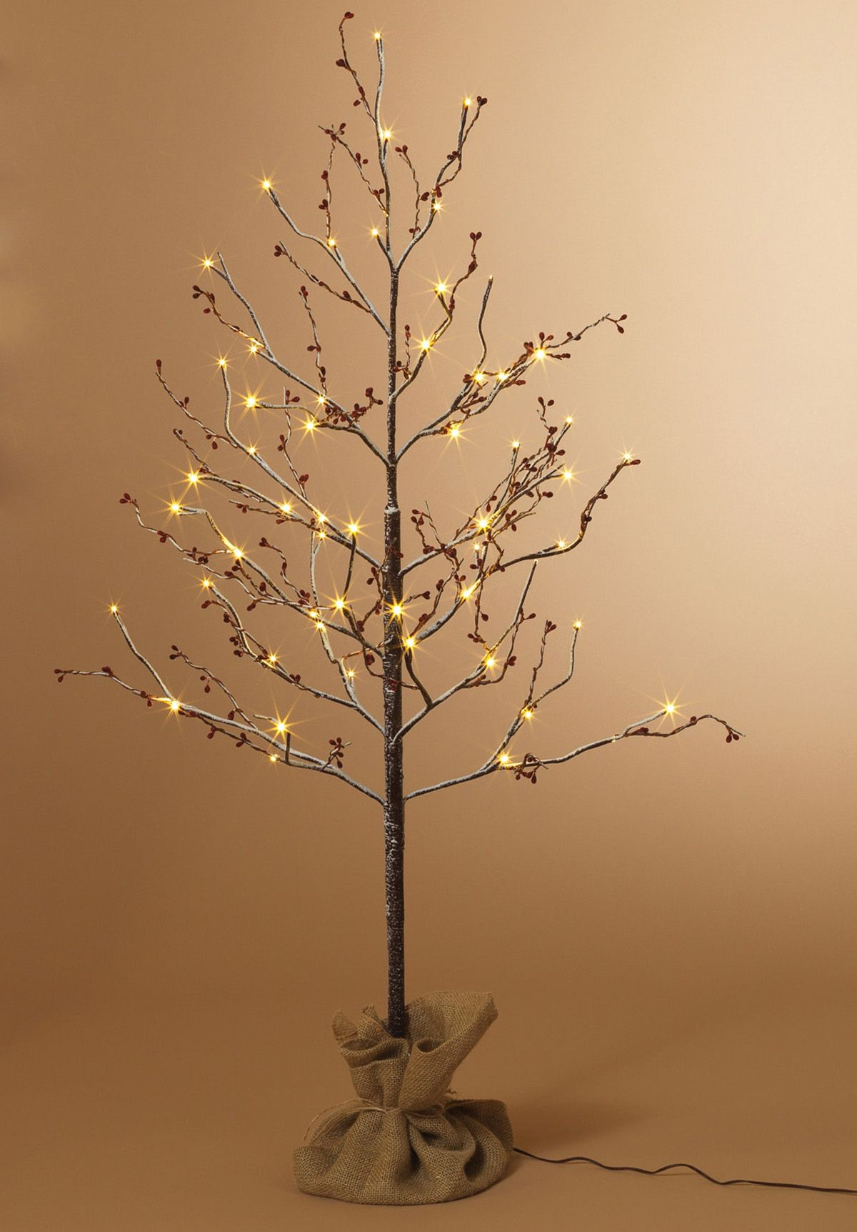 Snow Covered Birch With Berries Led 4Ft Artificial Trees Wishing