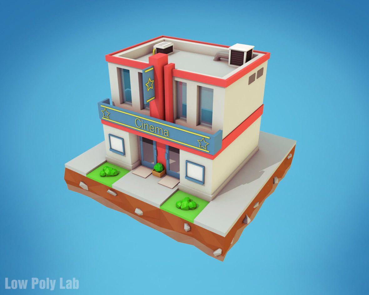 low poly cinema building download 3d model in 2019 low poly low rh pinterest com