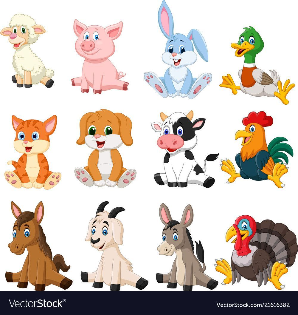 Farm Animal Collection Set Royalty Free Vector Image Freeimages Animal Pictures For Kids Farm Animals Pictures Baby Farm Animals