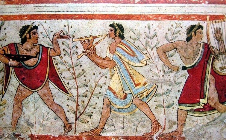 Italy - Lazio - Tarquinia (Viterbo) - Etruscan Flute players  from Tomba dei Leopardi