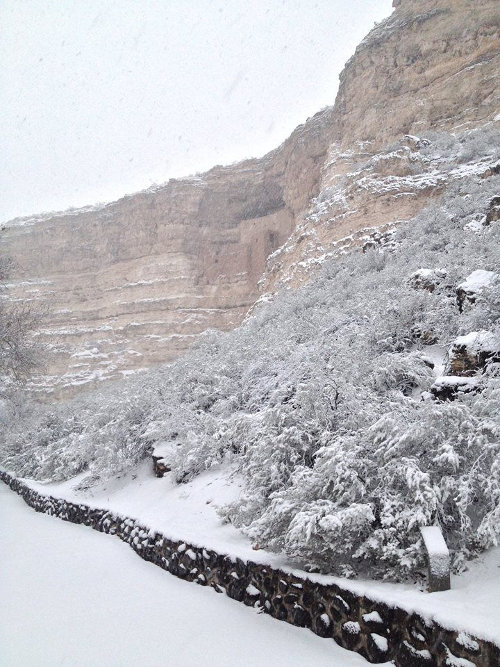 Snow at Montezuma's Castle 12/31/14. NPS/Jessica Deboer.