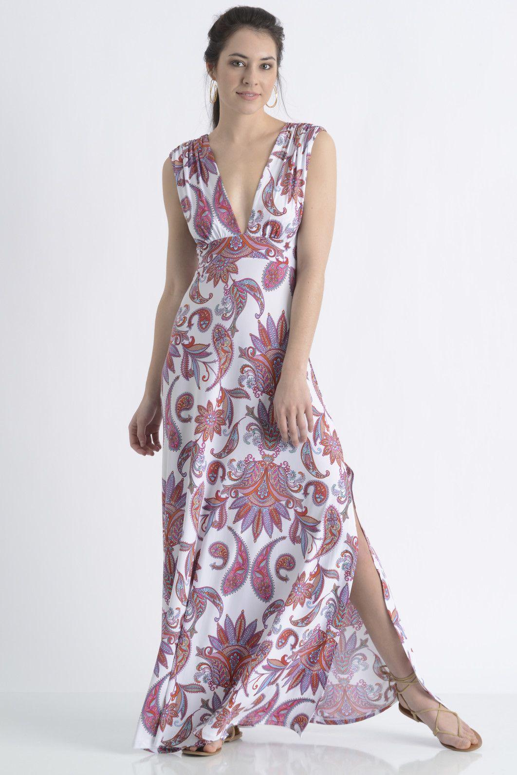 Veronica m paisley plunge maxi dress south moon under dresses