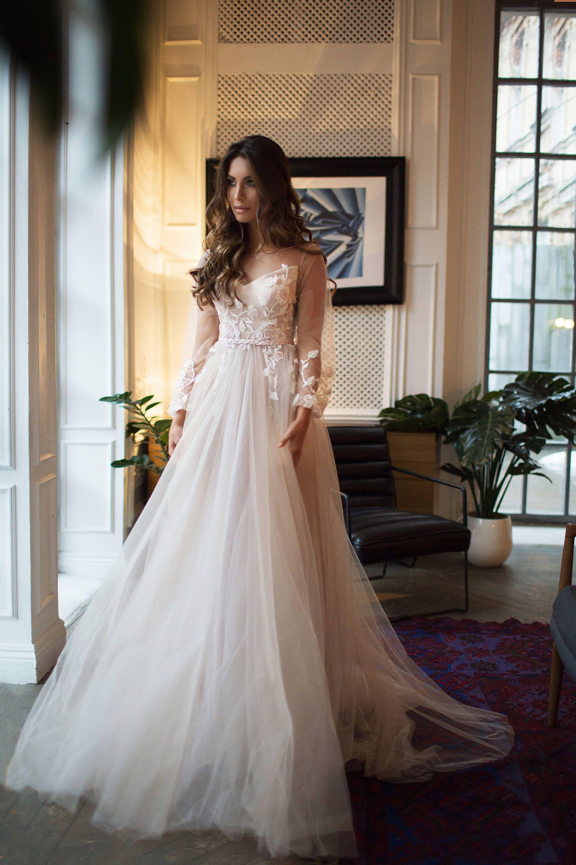 Bohemian wedding dress long sleeve tara open back