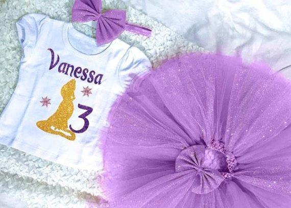 Rapunzel Tutu Set Tangled Birthday Shirt Dress Sticker Bow Tangle