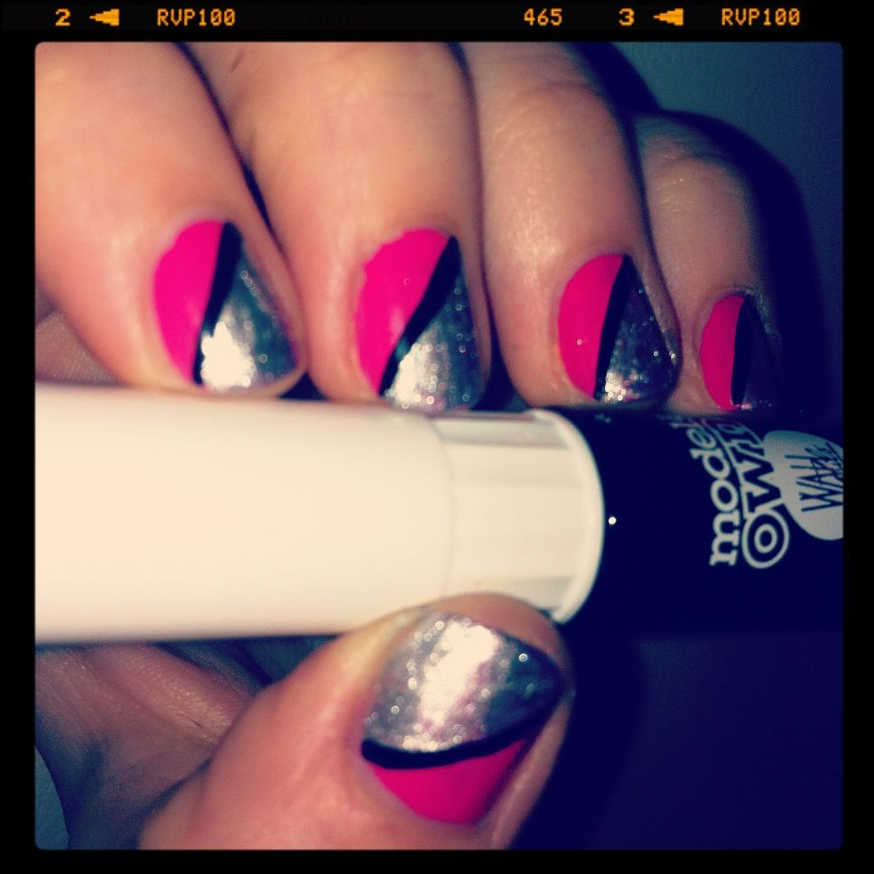 Flashes Of Pink And Silver Created Using Models Own Black Nail Art