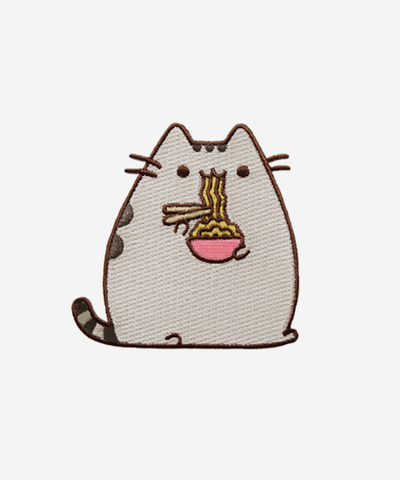 Pusheen eating ramen iron on patch - So cute for my backpack!