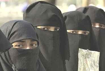 Muslim women do not show their hair, covered by their burkas