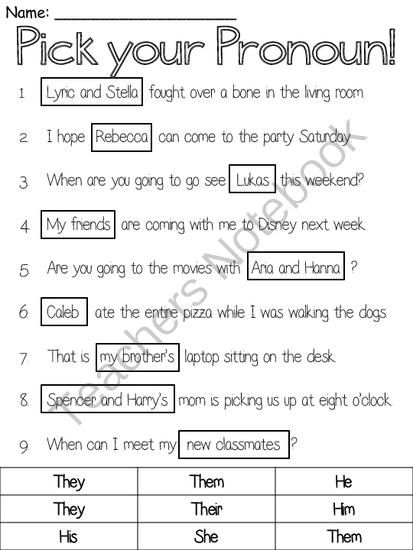 Pick A Pronoun From Ms Lyric On Teachersnotebook Com 1 Page Pronoun Worksheets 2nd Grade Reading Worksheets 2nd Grade Worksheets Pronoun worksheets for 2nd graders